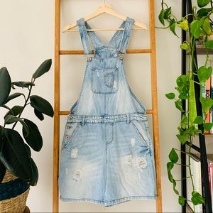 Only Light Blue Distressed Denim Overall Shorts
